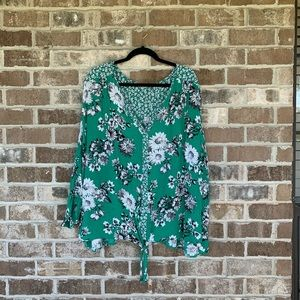 Avenue Green Floral Tie Bottom Top Size 30/32